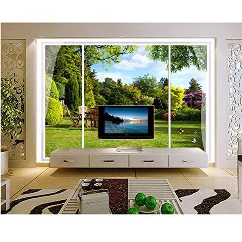YzybzPersonalizzato 3D Carta Da Parati Windows Esterno Giardino Vista Stereo Hd Foto Murale Camera Da Letto Soggiorno Sfondo Muro Carta-420 * 260cm