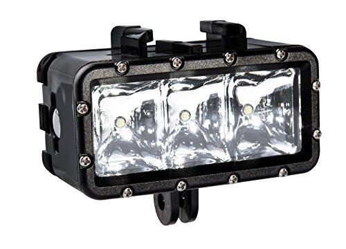 Bresser Action Camera LED Leuchte mit drei verschiedenen Leuchtstufen(High/ Low/ SOS), bis zu 30 m wasserdichtem Gehäuse für Tauchgänge und austauschbarem Akku, schwarz