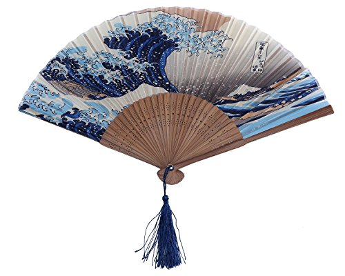 Authentische japanische Hand Fan?Seide Model?Ocean Wave. (Japanischer Fan Seide)