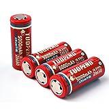 TUOFENG 26650 piles 3.7V 5000mAh Li-ion rechargeable (4 pièces) pour lampes de poche haute puissance