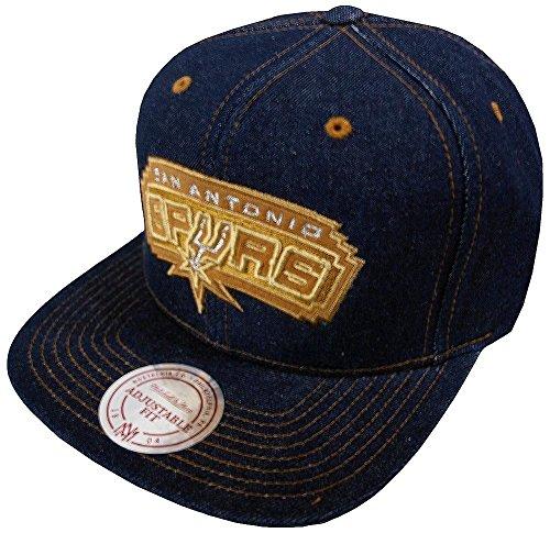 Mitchell & Ness San Antonio Spurs Dark Denim EU786 Snapback Cap Kappe Basecap