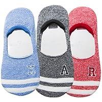 Preisvergleich für Maivasyy 3 Paar Socken Boot Socks Frauen unsichtbar Silikon Rutschhemmend kurze Damen Frühling Sommer Socken, Blau + schwarz + Rot