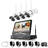 SANNCE 4CH 720P Funk HD WLAN Überwachungsset Kamera IP Kamera Videoüberwachung NVR Recorder Nachtsicht Fernzugriff Kabellose Wireless für innen und außen Bereich Ohne Überwachung Festplatte wetterfest
