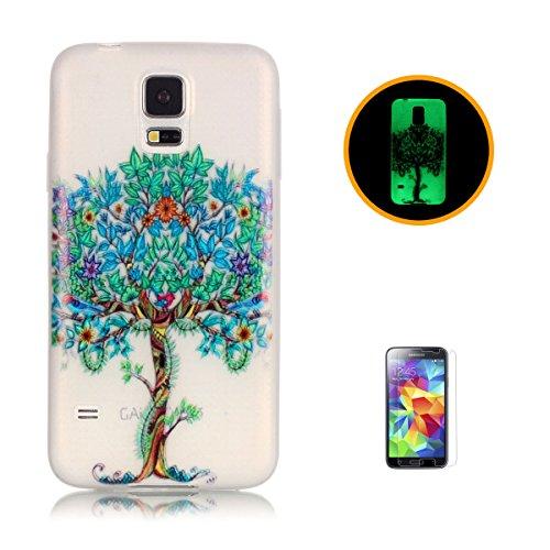 CaseHome for Case for Samsung Galaxy S5 Hülle Silikone Elegante Muster Transparente Stoßstange TPU Gummi Leuchten In Der Nacht-Baum des Lebens