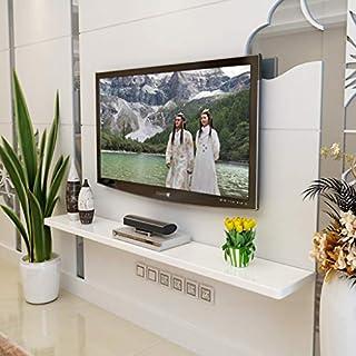 Schwimmendes Regal Wand Bücherregal Wand-TV Regal Fernsehhintergrundwand-Dekorationsregal Set-Top-Box Router Kabelbox Abstellfläche (Farbe : Weiß, größe : 100cm)