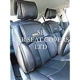 Para adaptarse a un Nissan Terrano 2, fundas para asiento, SJ 01negro Rossini Recaro cubo PVC piel sintética, 2frentes