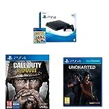 PlayStation 4 (PS4) - Consola De 500 GB, Color Negro + Voucher ¡Has Sido Tú! + Call Of Duty WWII + Uncharted: El Legado Perdido