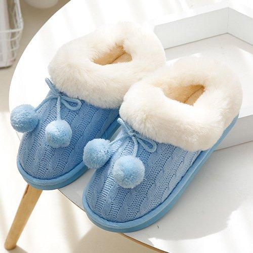DogHaccd pantofole,In autunno e inverno a maglia jacquard, piscina termale pacchetto con il fiore hit-colore coppie di maglieria home pantofole Blu cielo1