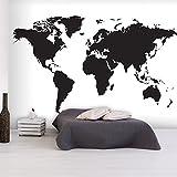 murando - Vlies Fototapete 150x105 cm - Vlies Tapete - Moderne Wanddeko - Design Tapete - Weltkarte Karte schwarz weiß k-B-0052-a-a