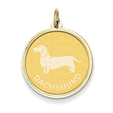 14ct Yellow Gold Dachshund Disc Charm - Measures 26.2x19.2mm