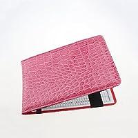 crestgolf piel sintética soporte para tarjeta de puntuación de Golf, 2colores, Negro y verde, pack de 1pieza, rosa