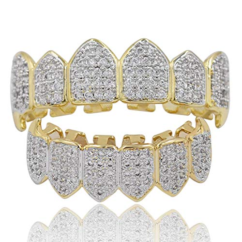 rill Set Micro-Inlay Diamond Braces Vampire Teeth Grillz BBQ Fashion Jewelry Men und bemalt,Gold ()