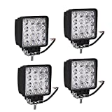 caidi 4 x 4 in 48 W Off Road Lampe Stange Projektor Phare de Arbeit LED Flood Nebelscheinwerfer LED Herde Tag Licht Beleuchtung der Motorrad-Rampe Dach Rückfahrleuchte LKW 4 x 4 Traktor Boot Quad 12 V-24 V