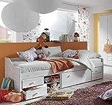SAM Holzbett 90 x 200 cm Melanie, Kiefer massiv, White wash, Kojenbett mit Unterbau, 5 Schubladen + 2 Fächer