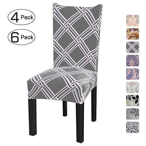 Fuloon coprisedie con schienale 4 pezzi elasticizzato copertura della sedia per una misura universale, coppia spandex coprisedia molto facile da pulire e di lunga durata (grigio/griglia, 4 pezzi)