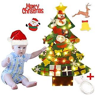 Outgeek Fieltro Árbol de Navidad, 3.28ft Árbol de Navidad de Fieltro DIY Decorativo con 50 Luces LED 30 PCS de Adornos para Niños DIY Regalos de año Navidad Puerta Decoración Mural