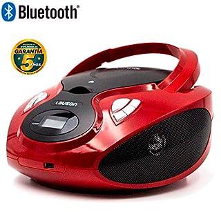 Lauson CD-Player Bluetooth | Tragbares Stereo Radio | USB | CD-MP3 Player für kinder | Stereo Radio | Stereoanlage | Kopfhöreranschluss | AUX IN | LCD-Display | CP639 (Rot)