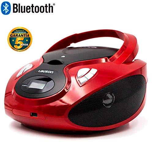 Lauson Lecteur CD | Radio Portable Bluetooth | USB | Radio Stéréo CD Lecteur MP3 pour Enfants | Prise Entrée AUX et Appareils Auditifs - Batterie et Alimentation électrique | CP639 (Rouge)