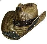Modestone Unisex Straw Sombrero Vaquero Filigree Brown & Black