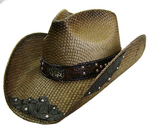 Modestone Unisex Straw Chapeaux Cowboy Filigree Brown & Black