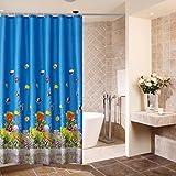 BKPH Blau Fisch Dekor Polyester Stoff Duschvorhang Wasserdicht und Schimmel resistent Schlafzimmer Dekor, 180 * 180cm