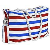 KUAK Extra große wasserdichte Strandtasche mit Reißverschluss Reißverschluss Reißverschluss Tasche, Schlüsselhalter, Flaschenöffner, zwei Außentaschen, Segeltuch Streifen Strandtasche für Damen