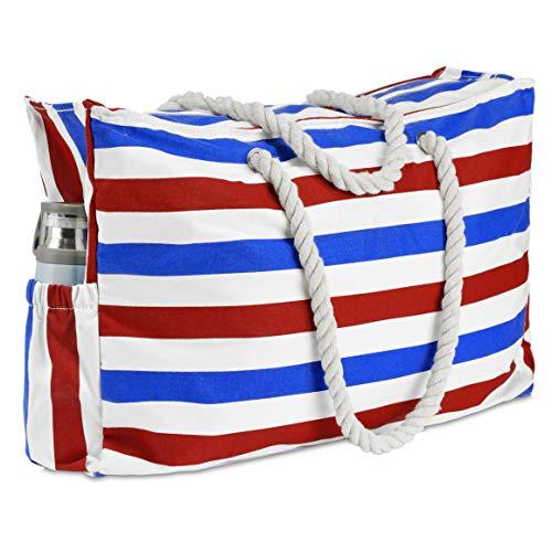 Große Geschlossene Gehäuse (KUAK Extra große wasserdichte Strandtasche mit Reißverschluss Reißverschluss Reißverschluss Tasche, Schlüsselhalter, Flaschenöffner, zwei Außentaschen, Segeltuch Streifen Strandtasche für Damen)