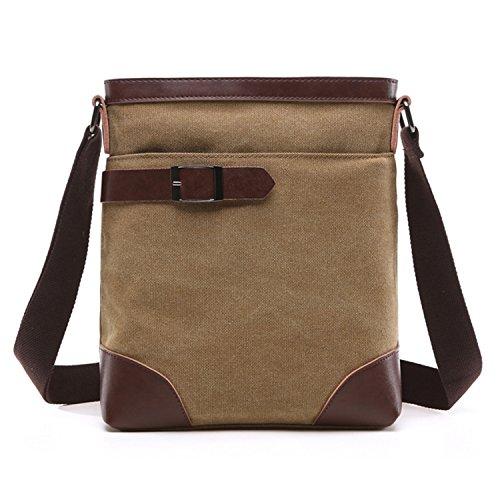 Outreo Umhängetasche Vintage Kuriertasche Retro Taschen Herren Messenger Bag Schultertasche Herrentaschen für Tablet Schultaschen Reisetaschen Sport Tasche Beige