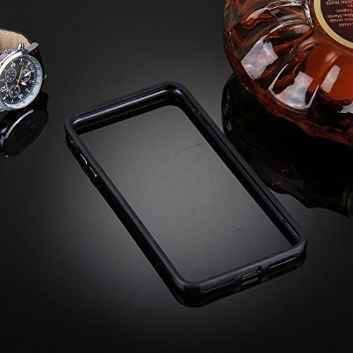 iPhone Case Cover Pour iPhone 7 Plus Silicone + Metal Aluminum Bumper Frame ( Color : Silver ) Black