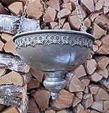 Deko-Impression Hängeampel Blumenampel Pflanztopf Übertopf an Kette Eisen Silber-Antik