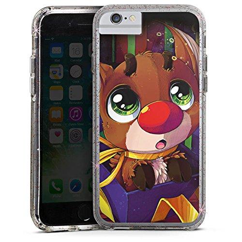 Apple iPhone X Bumper Hülle Bumper Case Glitzer Hülle Rudi Rentier Reindeer Bumper Case Glitzer rose gold