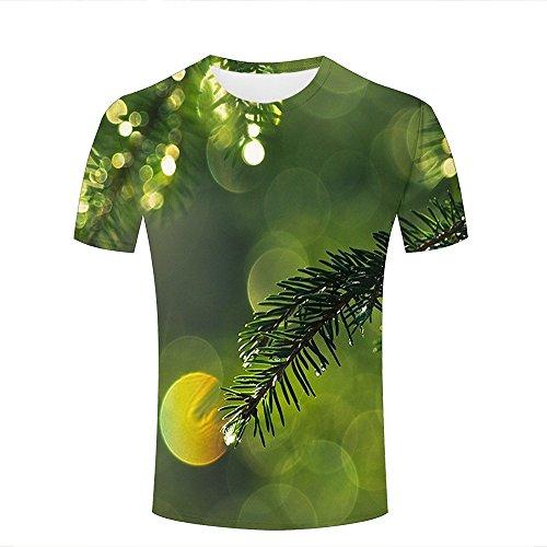 qianyishop 3d Print T Shirts Wet Pine Branch Close Up Graphics Men Women Couple Fashion Tees A