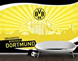 mantiburi Vlies FotoTapete Borussia Dortmund - Skyline Strahlen BVB 475x380cm / Grobes Leinen-Dekor