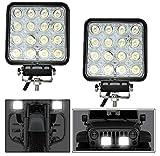 #3: Andride Square 16 LED 48 Watt Bike Auxillary CREE Fog Lamp Light Flood Light Bulb Offroad Motorcycle LED (Set Of 2)