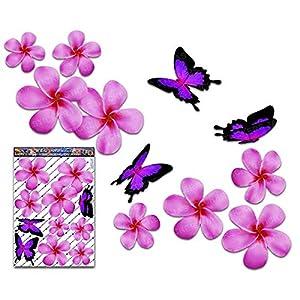 Frangipani Plumeria groß Rosa Doppel Blume + Schmetterling Tier Pack Auto Aufkleber - ST00024PK_LGE - JAS Aufkleber