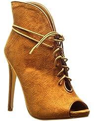 Angkorly - Zapatillas de Moda Botines stiletto sexy mujer Talón Tacón de aguja alto 12.5 CM - Camel