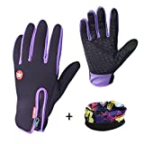 Eizur Windproof Skidproof Touchscreen Sports Gloves Unisex Winter Outdoor Waterproof Thermal Full Finger Gloves for Cycling Skiing Hiking Hunting Climbing Camping for Men Women Purple--Size M