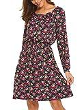 Trudge Damen Blumenmuster Druckkleid Langarmkleid Viskosekleid Blusenkleid Freizeitkleid Boho Kleid, Marine-Rot, EU 42(Herstellergröße: XL)