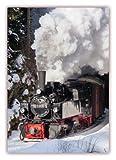 XXL Poster 100 x 70cm (S-815) Mallet Dampflok fährt durch tiefverschneite Winterlandschaft, Harzer Schmalspurbahn - Selketalbahn mit Dampflokomotive im Winter (Lieferung gerollt!)