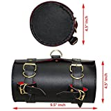 #5: AllExtreme Back Seat Round Saddle Bag for Royal Enfield Motorcycles (Black, Small)