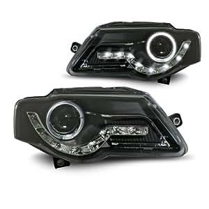 JOM 82739 Phares avant, VW Passat 05-, design feux diurnes, aspect xénon, double fonction (feux de croisement et feux de route), feux de position additionnels: 1 veilleuse circulaire, moteur pour le correcteur de portée lumineuse, face lisse/fond noir