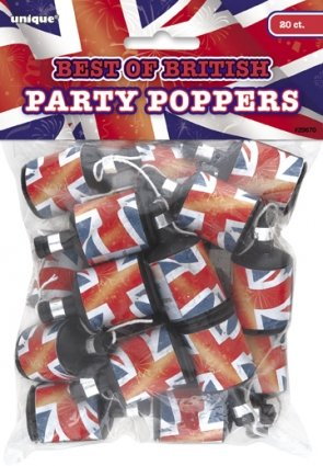 Best of British Union Jack Party Poppers, Pack