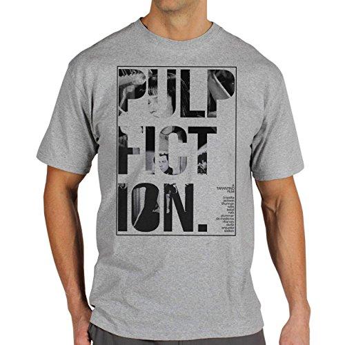 Pulp Fiction Ouentin Tarantino Movie Grey Poster Background Herren T-Shirt Grau