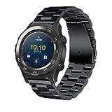 Ansenesna Luxus Echter Edelstahl Armband Smartwatch Uhr Band Bügel für Huawei-Uhr 2 Sportuhr (Schwarz)