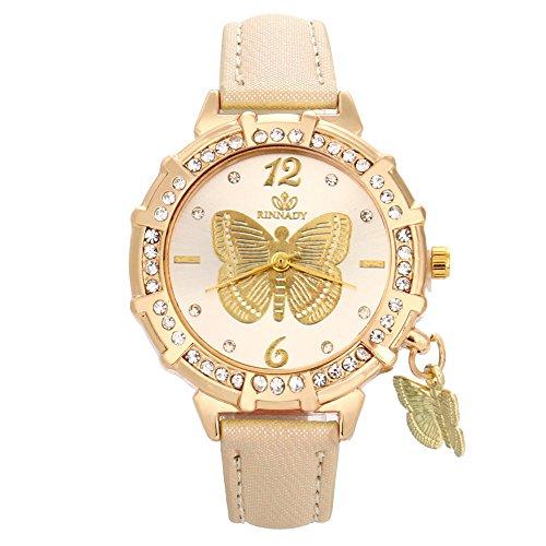 Skang Damen Armbanduhr Rund Analog Quarz Schmetterling Muster Anhänger Diamant Strass Armbanduhr Für Frau Lady Teenager Mädchen(one Size,Gold)