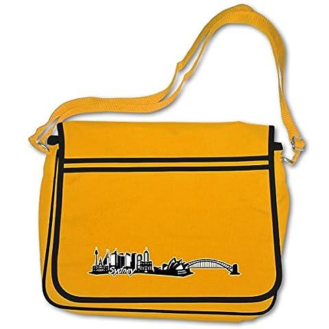 Schultasche Sydney Skyline Motiv Australien Bag Base® BagBase Retro Messenger