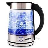 Cusimax Bollitore elettrico privo di BPA, 1,7L bollitore in vetro con illuminazione a LED, spegnimento automatico e Protezione Boil-dry, CMWK-150, 2200W
