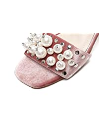 Casual Scrub Simple Zapatillas 5,5 cm Chunky mediados de talón abierto dedo del pie zapatos elegantes UE tamaño 35-39 , pink , 38