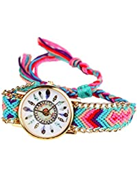 Handlife® Montre-Bracelet de Femmes, Joli Design, Nouvelle Modèle, Bracelet Tissé, Quartz Mouvement avec Belle Dessin de Plume, Meilleur Copin pour Vous Montrer l'Heure (D)
