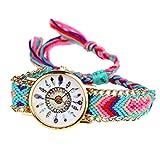 Handlife Montre-Bracelet de Femmes, Joli Design, Nouvelle Modèle, Bracelet Tissé, Quartz Mouvement avec Belle Dessin de Plume, Meilleur Copin pour Vous Montrer l'Heure (D)